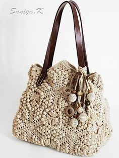 This item is unavailable - Bag crochet Sweet Beige bags crocheted Bag Crochet, Crochet Purse Patterns, Crochet Shell Stitch, Crochet Handbags, Crochet Purses, Love Crochet, Crochet Motif, Beautiful Crochet, Knitted Bags