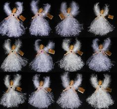 """Christmas Birthstone Angel Ornaments W/Feather Wings January Thru December. 9"""" from tip of feather wing to bottom of her dress. Each Angel Measures. Her body measures 4"""" and is made of a rubber material. 