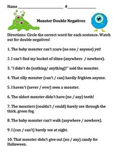 Double Negatives Worksheets | Double Negatives | Pinterest | More ...