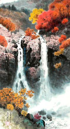 (North Korea) Waterfalls in Mt Baekdu by Seok Rye-jin (1946-  ). 석례진 백두산 폭포