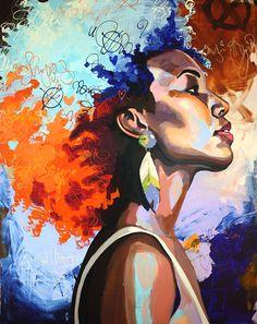 31 ideas black art painting portraits natural hair for 2019 Abstract Portrait, Portrait Art, Painting Portraits, Abstract Oil, African American Art, African Art, Black Art Painting, Hair Painting, Acrylic Paintings