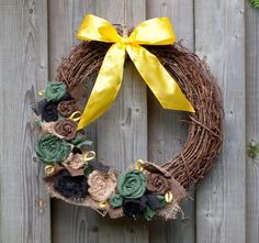 Support Our Troops - Army Burlap Wreath with Pearls
