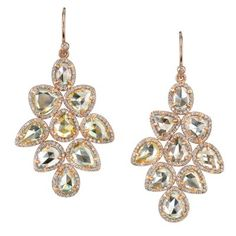 One of a Kind Rose Cut Diamond Earrings with Diamond Pave