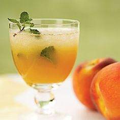 fresh peach mojitos...not a Monday's Melody, but I'm sure I could sub some pomegranate juice in somehow ;)