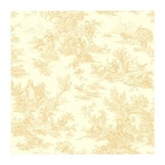 York Wallcoverings AT4234 Ashford Toiles Champagne Toile Prepasted Wallpaper, Cream/Beige by York Wallcoverings