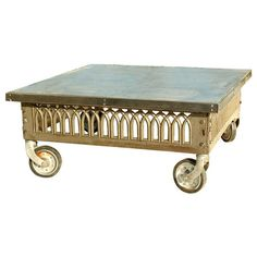 Vintage Industrial Cast Iron and Zinc Coffee Table by Workshop152, $850.00