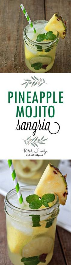 Pineapple Mojito Sangria - Boozy pineapple chunks mingle with muddled lime and fresh mint for a refreshing white wine sangria that's sure to be the hit of the party.