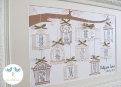 Love Birds - Wedding table plan - pinks and browns