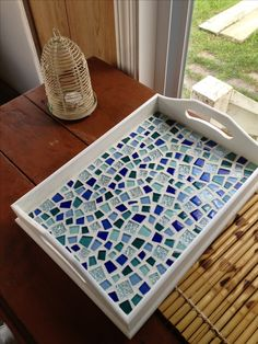 My successful Pinterest craft/ mosaic tray I made (: