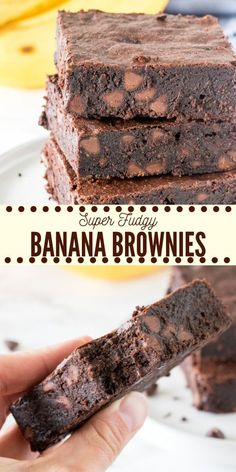 Chewy, fudgy, super moist banana brownies have a delicious chocolate flavor and hint of banana. Made with simple, everyday ingredients - they're the perfect way to use up your brown bananas AND get your chocolate fix. Recipes for 1 Fudgy Banana Brownies Healthy Desserts, Just Desserts, Delicious Desserts, Yummy Food, Healthy Brownies, Desserts With Bananas, Baking With Bananas, Recipes Using Bananas, Healthy Sweet Snacks