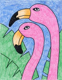 Learn how to draw a flamingo head and it's graceful arch. It will help you focus on their unique beaks, so you can get the lovely coloring just right. Art Drawings For Kids, Bird Drawings, Drawing For Kids, Easy Drawings, Summer Drawings, Projects For Kids, Art Projects, Drawing Projects, How To Draw Flamingo
