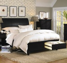 Cambridge Queen-size Bed With Sleigh Headboard & Drawer Storage Footboard By…