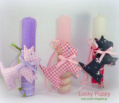 Το τυχερό κουμπί: Πασχαλινές λαμπαδίτσες για κοριτσάκια Lucky Puppy, Pillar Candles, Crafts For Kids, Candle Holders, Projects To Try, Easter, Blog, Gifts, Diy