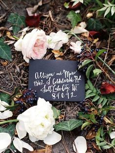 Berry and black wedding inspiration board with a black envelope with white calligraphy and a lavender colored wedding cake. Alternative Wedding Stationery, Wedding Stationery Inspiration, Wedding Stationary, Wedding Invitations, Invites, Calligraphy Invitations, Calligraphy Envelope, Perfect Wedding, Fall Wedding