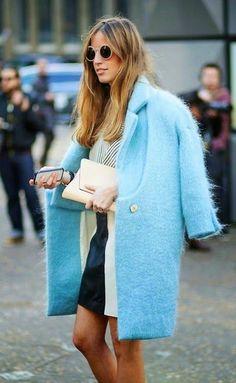 Long fur coats for Fall Winter in robin's egg blue   Girlfriend is Better