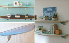 & & & & halved surf boards function as wall shelves