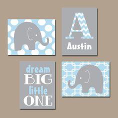 Baby Boy Nursery Wall Art Baby BOY Elephant Wall Art Baby Blue Boy Elephant Nursery Boy Bedroom Canvas or Prints Nursery Dream Big Set of 4