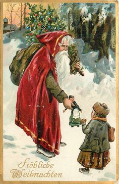 FROHLICH WEIHNACHTEN  Santa, with sack on shoulder, gives doll to girl in the snow