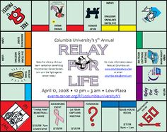 Columbia University Relay for Life - Events Calendar (How about turning tent city into a Monopoly board or having a board game theme in general)