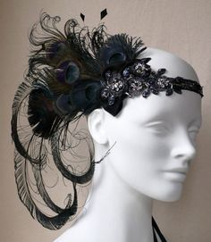 Licorice Nymph Peacock Feather Flapper Headband by BaroqueAndRoll on imgfave