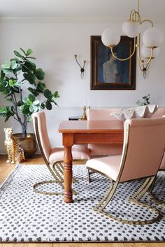 Modern Vintage Dining Room Pink And Br Cantilever Chairs Wood Farmhouse Table