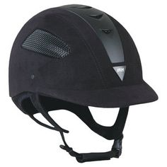The IRH® Elite EQ Helmet** is designed for today's competitors. Ultra-comfortable, well ventilated and innovative, the Elite EQ features a low-profile geometry and a well-fitting, wrap-around harness. Top, side and rear vents assure optimal air intake and cooling. Amara suede finish is perfect for the show ring. Long oval style is available by special order.