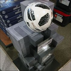 Adidas Soccer Ball Ziggurat Tower – Fixtures Close Up Soccer Store, Store Fixtures, Soccer Ball, Tower, Adidas, Rook, Computer Case, European Football, European Soccer
