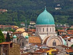 The Great Synagogue (church), taken from the tower of Palazzo Vecchio, Florence (Firenze), Tuscany, Italy