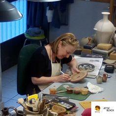ATTIC BLACK features iconic, handmade pottery showcasing the Grecian heritage & culture. Handmade Pottery, Attic, Crafty, Studio, Greek, Black, Loft Room, Black People, Attic Rooms