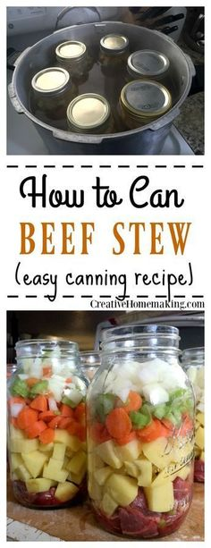 How to Can Homemade Beef Stew Easy recipe and instructions for canning beef stew with a pressure canner.<br> Easy recipe and instructions for canning beef stew with a pressure canner. Pressure Canning Recipes, Home Canning Recipes, Canning Tips, Pressure Cooker Recipes, Cooking Recipes, Cooking Pork, Pressure Cooking, Easy Canning, Cooking Salmon