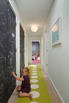 I think hallway to kids room/playroom! The Best Chalkboard Wall Art Diy Chalkboard Paint, Chalkboard Walls, Kids Chalkboard, Dry Erase Paint, Long Hallway, White Hallway, Upstairs Hallway, White Walls, Hallway Runner