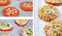 Cheesy Garlic Tomatoes Place tomatoes on baking sheet Garlic Cheese Bread Crumbs Bake 425 for min Side Recipes, Veggie Recipes, Appetizer Recipes, New Recipes, Vegetarian Recipes, Appetizers, Cooking Recipes, Favorite Recipes, Healthy Recipes