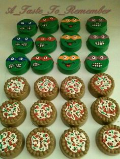 Ninja Turtle chocolate covered oreos and pizza chocolate covered oreos. Chocolate Turtles, Chocolate Covered Oreos, Chocolate Covered Strawberries, Chocolate Oreo, Oreo Treats, Oreo Cookies, Oreo Pops, Candy Table, Fiestas