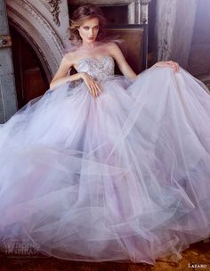 Lazaro Bridal Gowns, Wedding Dresses Style by JLM Couture, Inc. Lazaro Wedding Dress, Lazaro Bridal, 2015 Wedding Dresses, Colored Wedding Dresses, Bridal Dresses, Wedding Gowns, Bridal Reflections, Marine Uniform, Beautiful Gowns