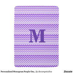 Personalized Monogram Purple Ombre Chevron Baby Stroller Fleece Blankets #decampstudios