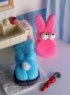 "For the past four years, The Washington Post has sponsored an Easter ""Peeps"" contest. Contestants make dioramas using Peeps chicks and rabbi. Plumbing Humor, Plumbers Crack, Pride And Prejudice And Zombies, Marshmallow Peeps, Peep Show, Easter Peeps, All Things Cute, Cool Pets, Special Day"