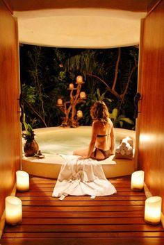 Private jacuzzi at Aroma Spa at Esencia Estate in Mexico's Mayan Riviera
