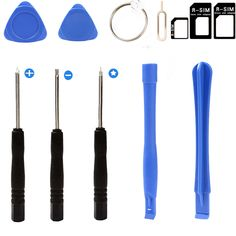 1set 8 in Opening Repair Tools Phone Tools For iPhone 4 5s 6 Samsung htc Moto etc + 4 in 1 micro sim adapter + Eject Pin Key