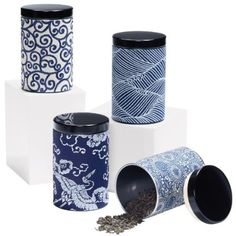 Japanese Yuzen paper Blue and White Tea Canisters