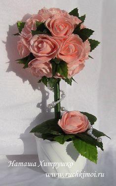 Топиарий с розами из фоамирана своими руками. Подробный МК