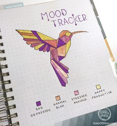 Free printable hummingbird mood tracker for planners and bullet journals. www.stateofmess.com #moodtracker #printable #plannerprintables #hummingbird #bird #animal #habittracker #bujo #bulletjournal #bujoinspiration #depressionrecovery #anxiety #endthestigma