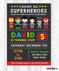 Superhero Birthday Invitation Superhero Boy by KidzParty on Etsy