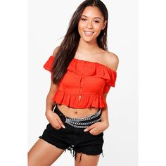 Boohoo Esme Woven Ruffle Button Down Bardot Crop ($32) ❤ liked on Polyvore featuring tops, off the shoulder ruffle top, ruffle top, ruffle crop top, jersey crop top and cami crop top