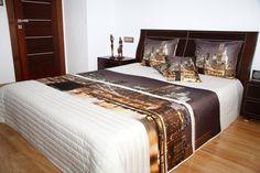 Narzuty 3D na łóżka w kolorze kremowym z motywem miasta
