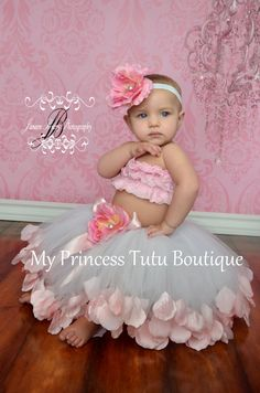 Pink Petals Flower Girl Tutu Dress by MyPrincessTutuBoutiq on Etsy
