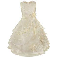 Amazon   (イーエフイー)EFE 子供 ジュニア用 ドレス ロングスカート 4枚重ねドレス パニエ内蔵 ビーズ 花刺繍 オーガンザ 結婚式/ピアノ発表会 12色 3-16歳   フォーマル 通販