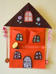Felt & Fabric Orange House Bow Holder and wall pocket.