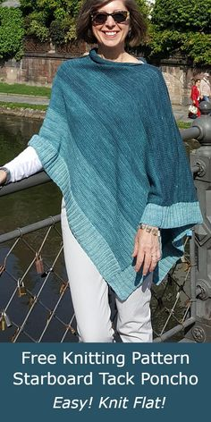 Free Knitting Pattern Starboard Tack Poncho Striped poncho knit flat and seamed and finished with tailored 2x2 rib hems, modified three-needle bind off, and the I cord neck edge for a polished look. Use gradient mini skein sets for a gradient color. Designed by Deborah Doherty. DK weight yarn. Rated easy by Ravelrers. Poncho Knitting Patterns, Knitted Poncho, Free Knitting, I Cord, Dk Weight Yarn, Bind Off, Sourdough Bread, Polished Look, Gradient Color