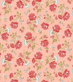 Keepsake Calico™ Cotton Fabric-Rose Bouquet Red & Pink