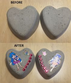 Decorated heart stones.